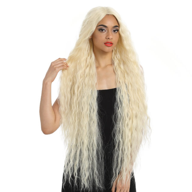 Synthetic Wig Lace Front Synthetic Wig Long Curly Ombre Blonde Wig 42 Inch  613 American Synthetic Lace Front Wig