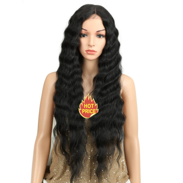 Long Black Wig Deep Wave High Temperature Fiber Middle Part 30 Inch 150% Heavy Density Lace Front Synthetic Wigs For Women