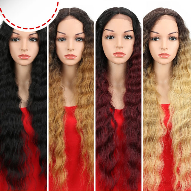 Synthetic Lace Front Wig Natural Hair Wig Black 25-30 Inch Deep Wave Super Long Wavy Synthetic Wigs For Black Women