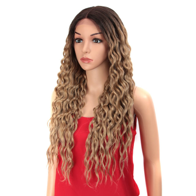 28 inch Hair Synthetic Lace Front Wigs For Black Women Soft Loose Wave Hair Ombre Brown Pink Heat Resistant Hair