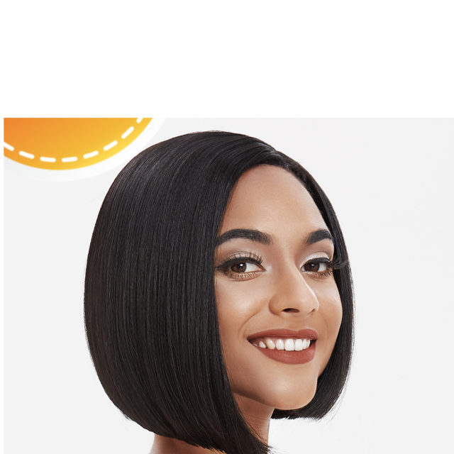 Yaki Straight Hair Synthetic Side Part Lace Front Wig Ombre Brown Heat Resistant Cosplay Bob Wigs For black Women