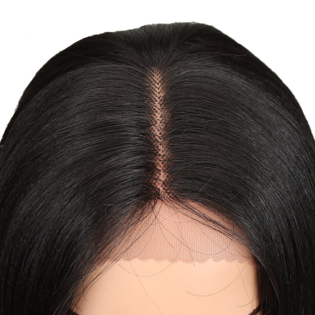 26 Inch Long Straight Wig Synthetic Hair Lace Front Wig Ombre Black 613 Cosplay Wig Heat Resistant Synthetic Hair